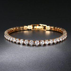 NEW 18K Yellow Gold Plated Round Diamond Bracelet